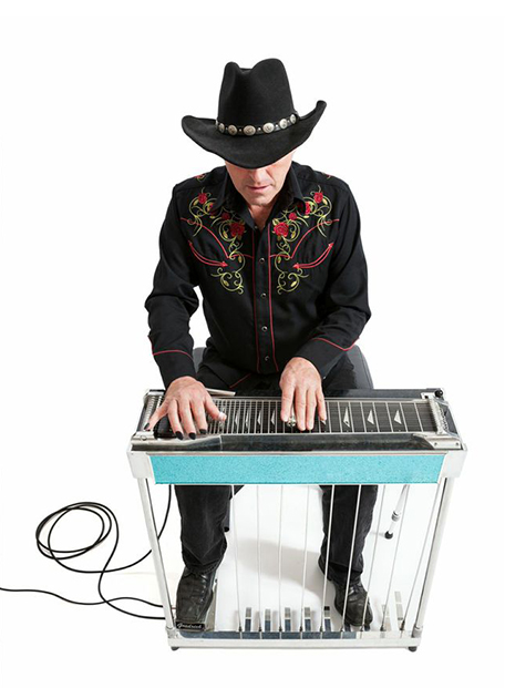 Photo of pedal steel player playing with Tone Tips Hybrid removable instrument picks