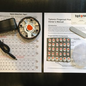 Tiptonic Starter Kit - Box 1 contains - a Sizing Chart and an Activator and Cord, Box 2 contains - An array of picks in your sizes, a plastic organizer, the Owner's Manual and a file